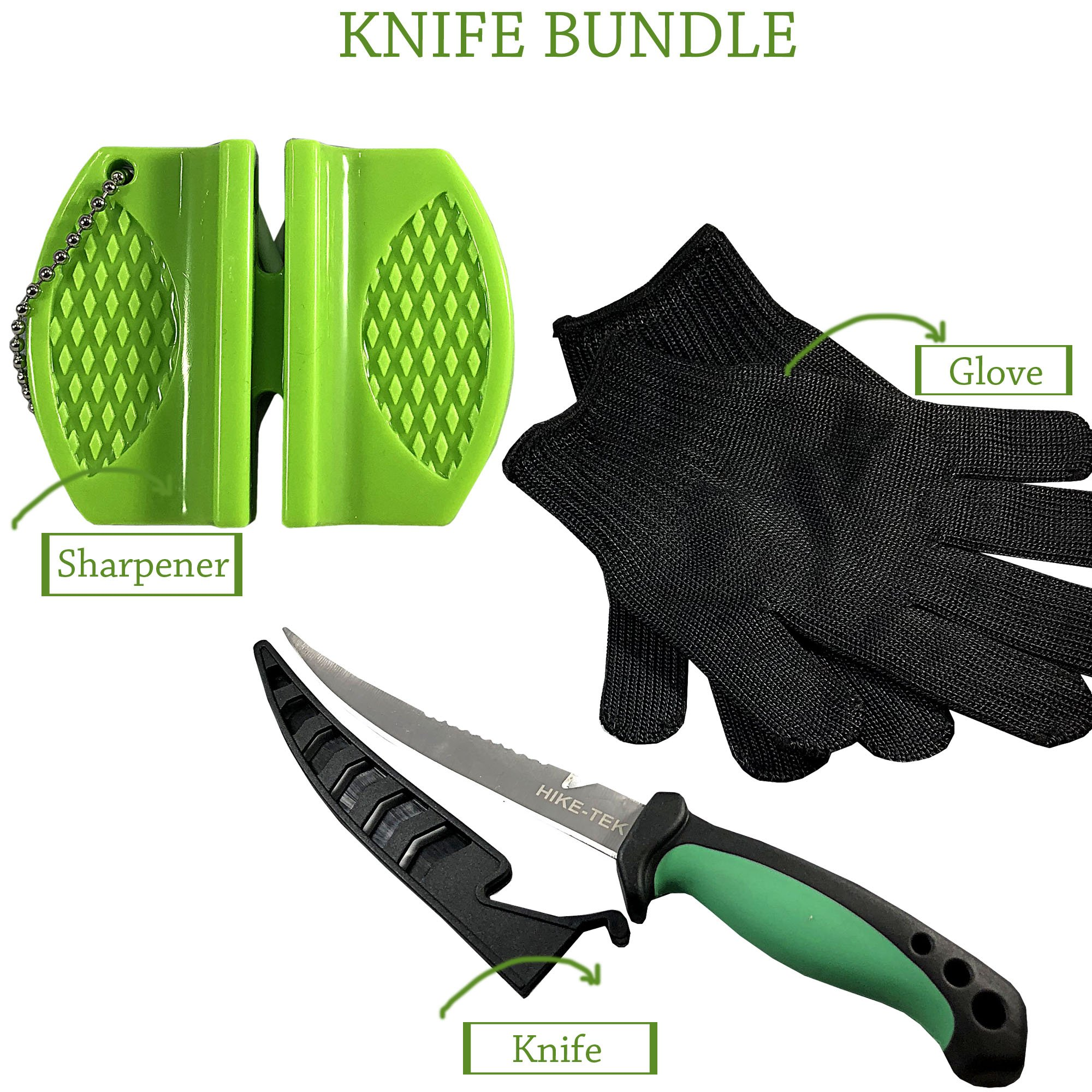 HIKE-TEK Premium 6.5 Inch Fillet knife With Sharpener and Anti-Cut Gloves Included. Portable Stainless Steel Blade- Best Gift Idea by