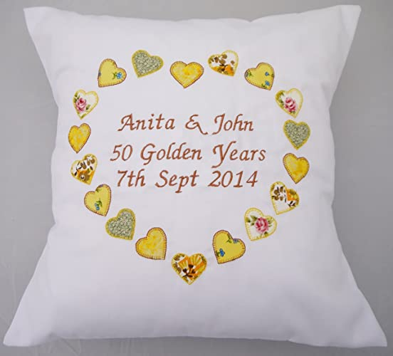 Personalised Ruby Golden Golden Silver wedding anniversary gift cushion pillow. Bespoke couple gift displaying name and date. Applique fabric hearts. & Amazon.com: Personalised Ruby Golden Golden Silver wedding ...