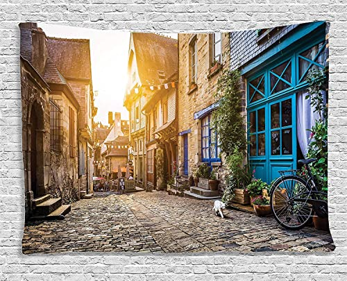 Ambesonne Wanderlust Tapestry, Old Town in Europe at Sunset Retro Vintage Coffee Shop Blooms Cat Alleyway, Wide Wall Hanging for Bedroom Living Room Dorm, 80 X 60 , Brown Teal