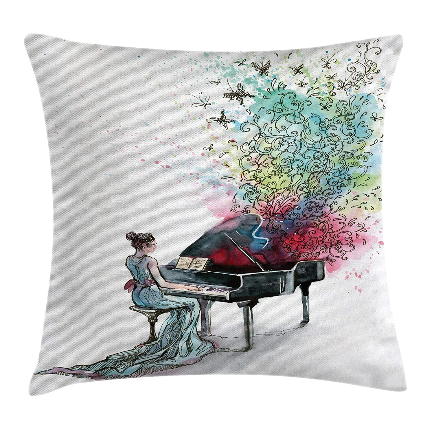 Grand Piano Music Musician Butterflies Ornamental Pianist Swirls Vintage 20 X 20 Inches Multi Ambesonne Music Decor Throw Pillow Cushion Cover by Decorative Square Accent Pillow Case