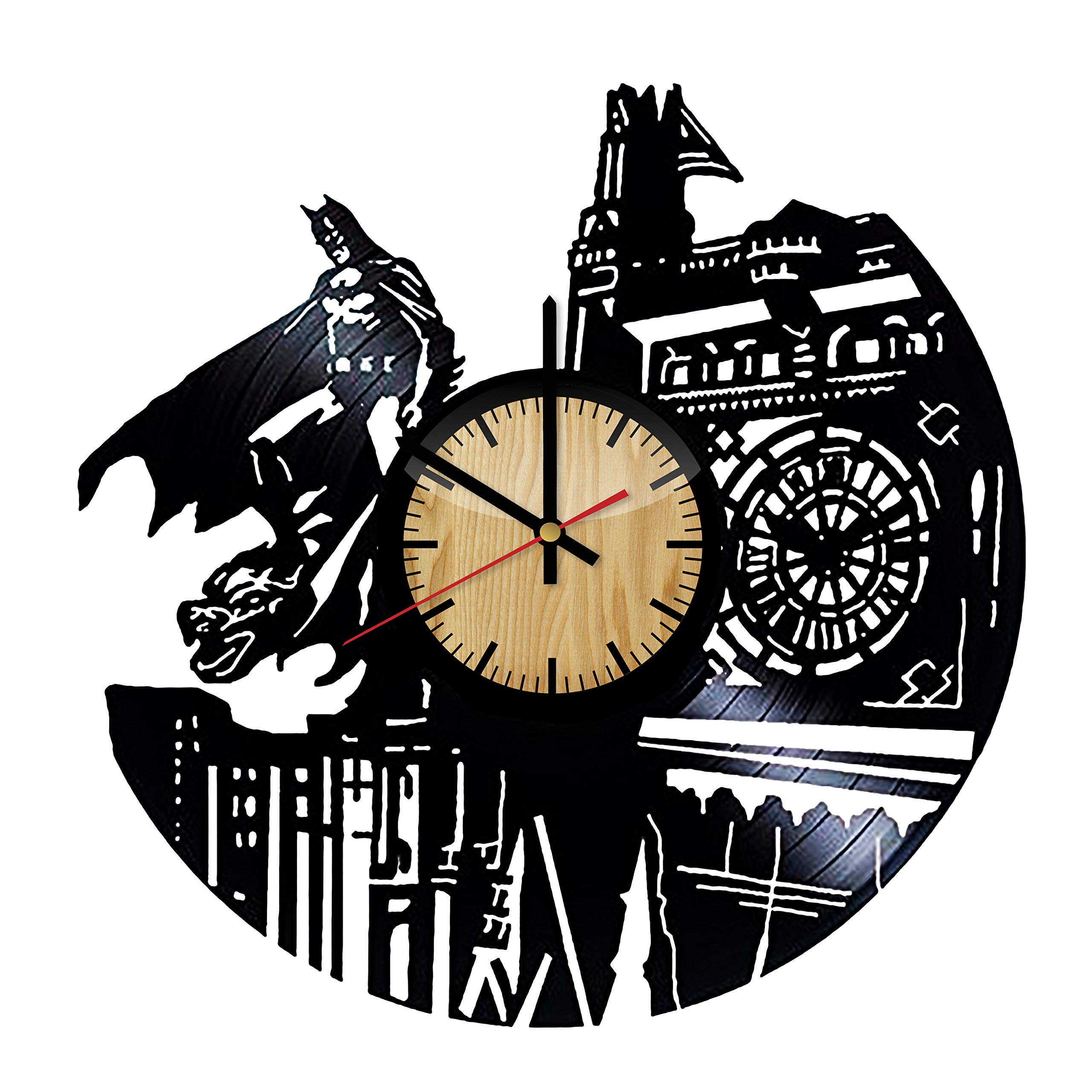 Batman Dark Knight Hero Arkham City DC Comics Movie Characters Vinyl Record Design Wall Clock - Decorate your home with Modern Famous Batman Dark Knight Story Art - Best gift for him or her
