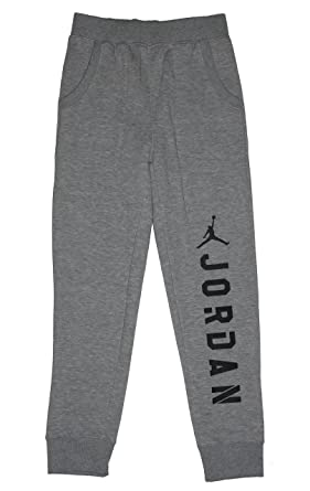 6814fb9c68a Jordan Nike Big Boys Jumpman Graphic Fleece Pants Dk Grey Heather (Medium)