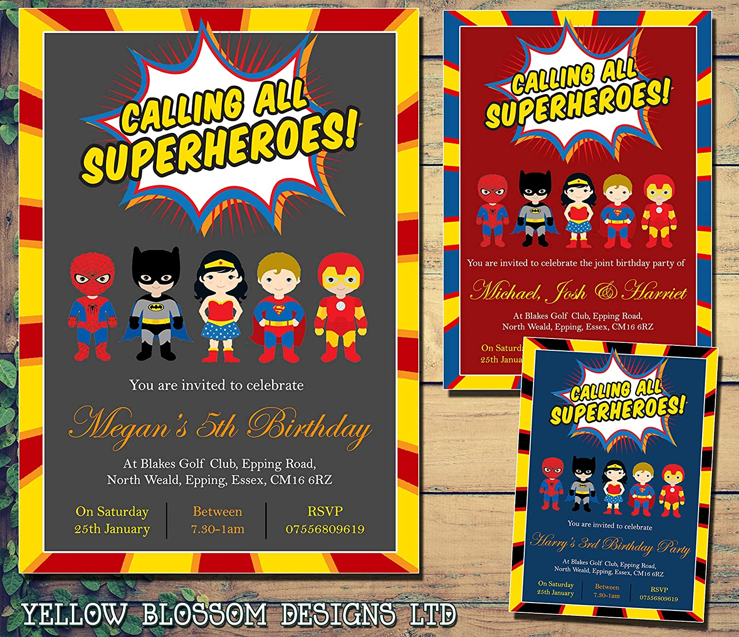 Personalised Calling All Superheros Childrens Birthday Invitations Printed Invites Boy Girl Joint Party Twins Unisex Photo Card Superhero Thank You Boys