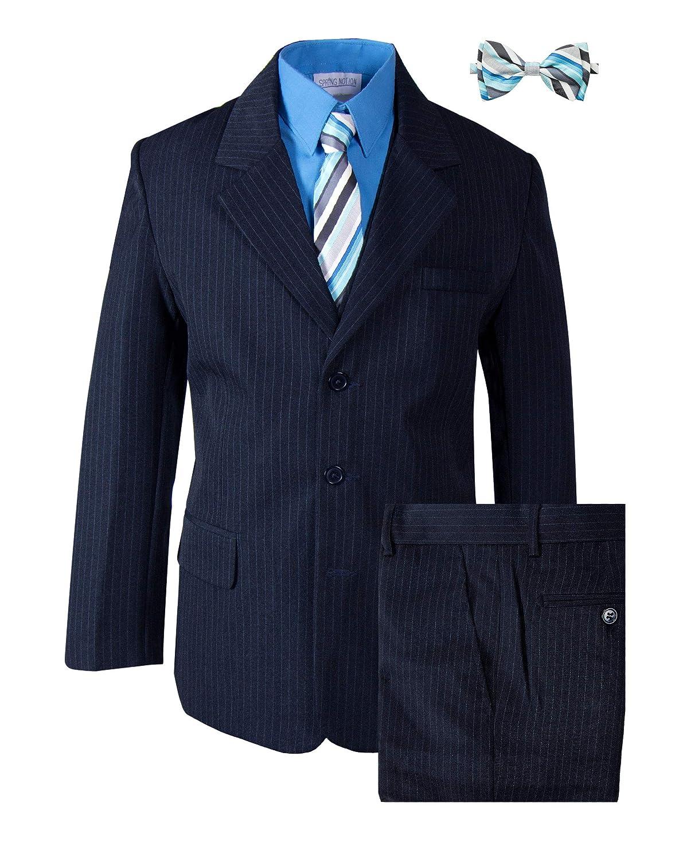 Amazon.com: Los niños traje de Pinstripe Azul Marino con ...