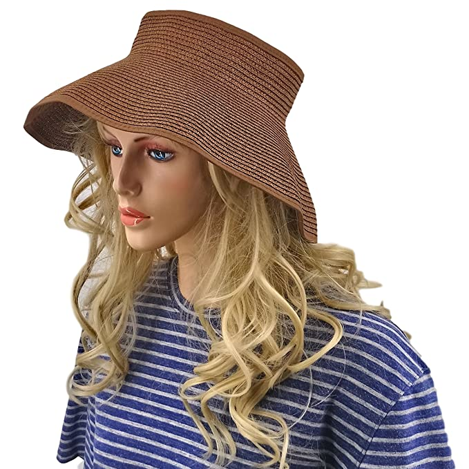ea940311d Simes Sun Visors for Women, Summer Straw Hats, Packable Floppy Wide Brim Hat