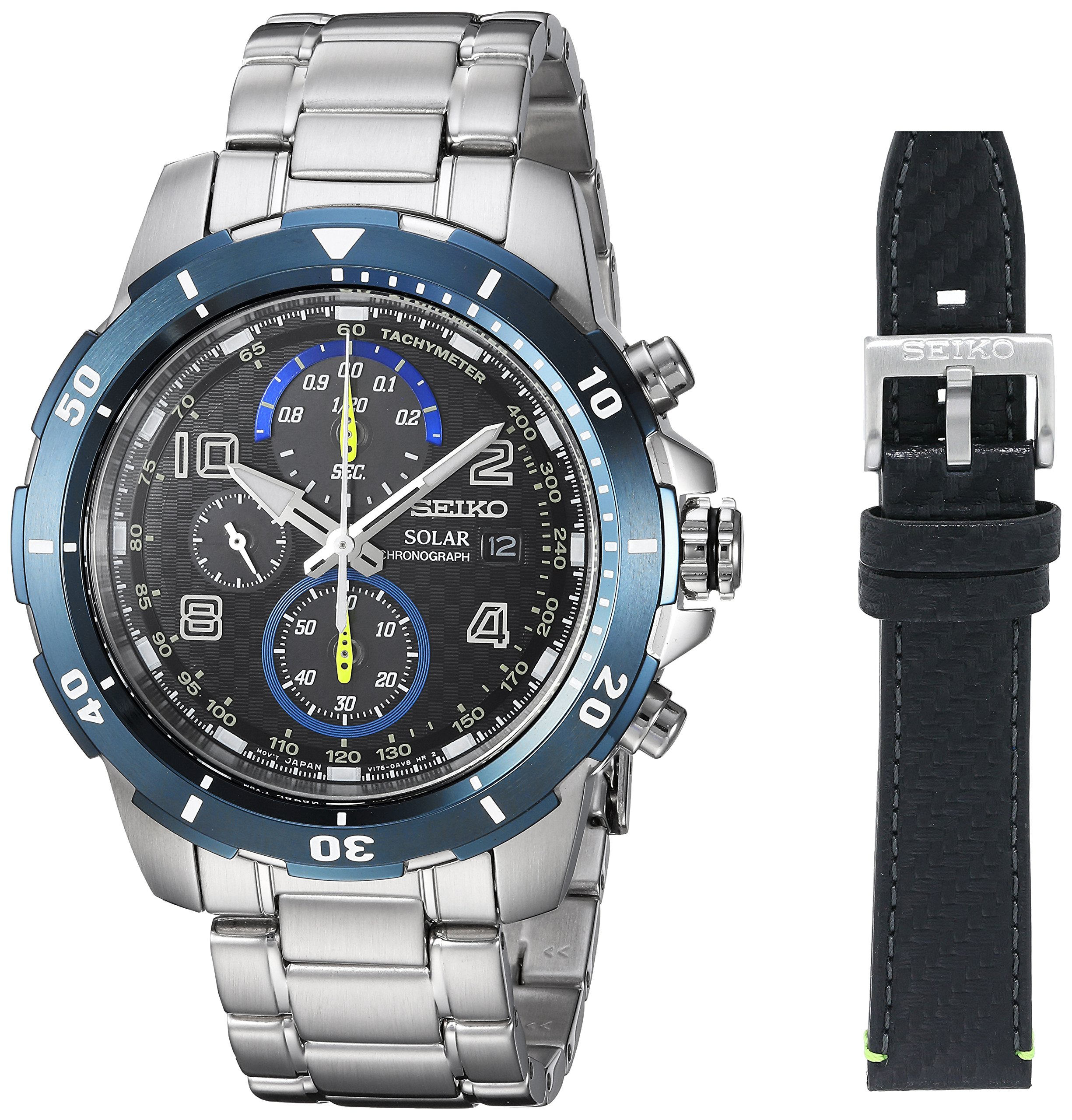 Seiko Men's 'CHRONOGRAPH' Quartz Stainless Steel Casual Watch, Color:Silver-Toned (Model: SSC637) by Seiko
