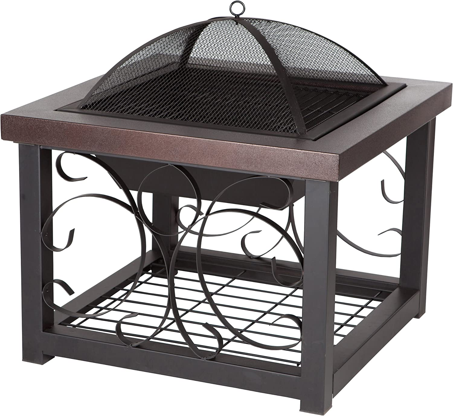 Fire Sense Hammer Tone Bronze Finish Cocktail Table Fire Pit   Wood Burning   Steel Mesh Spark Screen, Wood Grate, and Screen Lift Tool Included   Square Steel Fire Pit with Log Storage Rack  