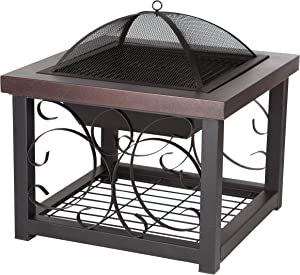 Fire Sense Hammer Tone Bronze Finish Cocktail Table Fire Pit | Wood Burning | Steel Mesh Spark Screen, Wood Grate, and Screen Lift Tool Included | Square Steel Fire Pit with Log Storage Rack |