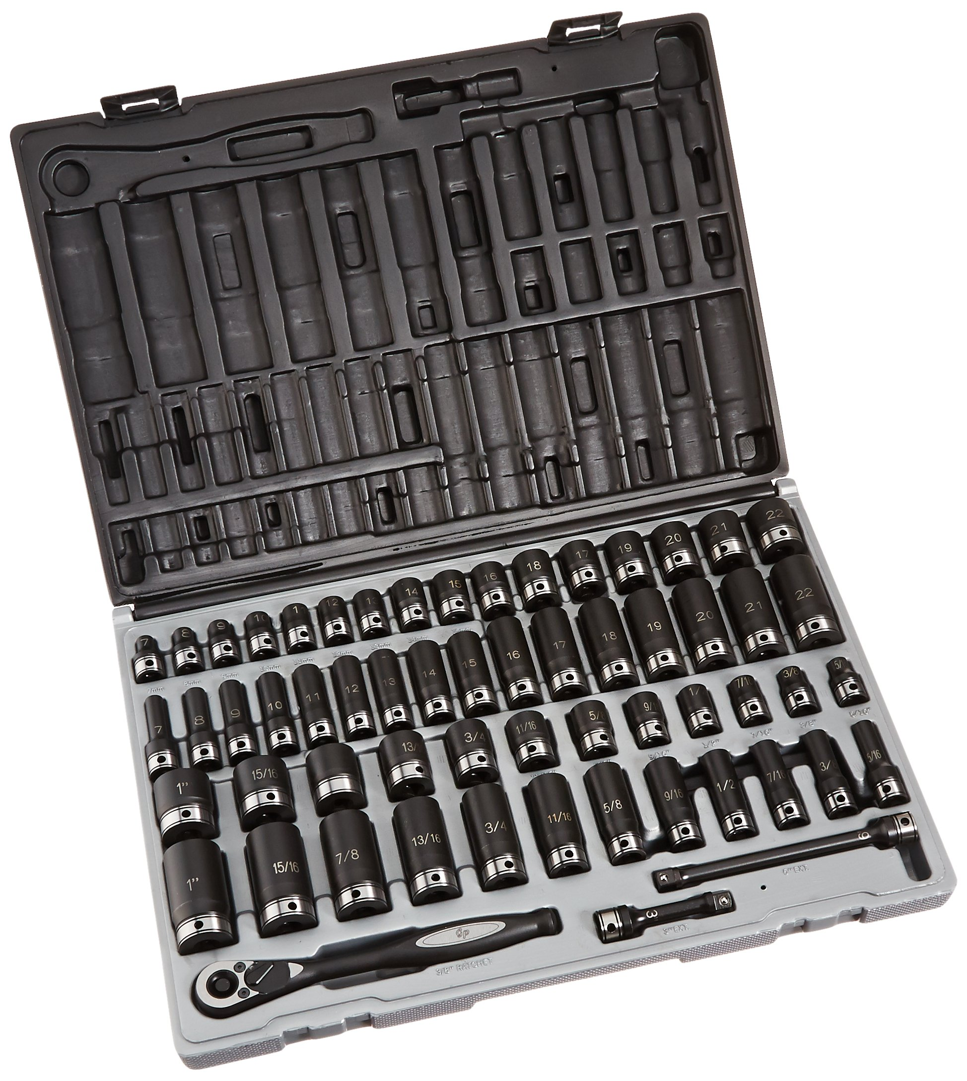 Grey Pneumatic 81259CRD 3/8'' Drive 59pc Standard/Deep Length Fractional and Metric Duo-Socket Set - 12