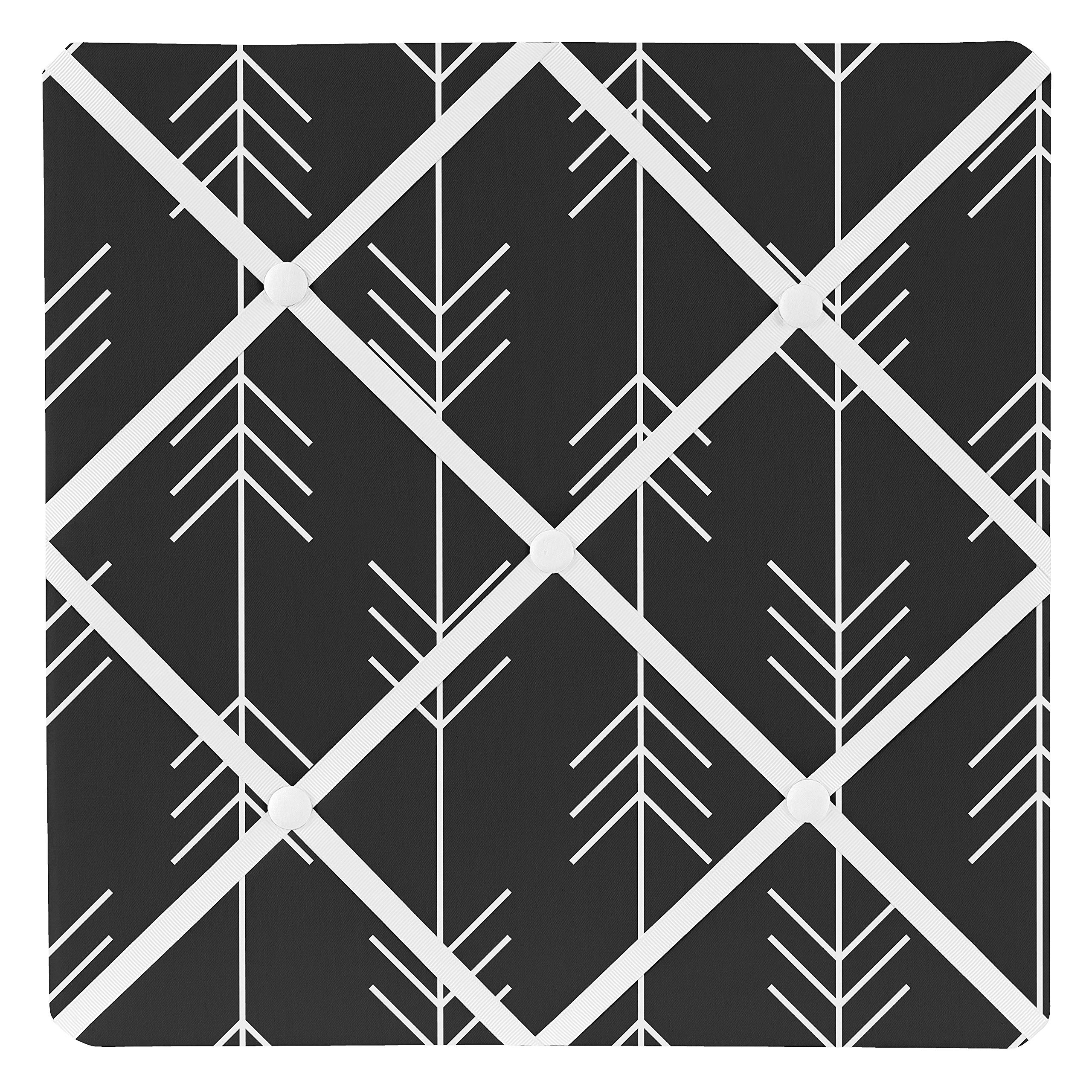 Sweet Jojo Designs Black and White Woodland Arrow Fabric Memory Memo Photo Bulletin Board for Rustic Patch Collection by Sweet Jojo Designs