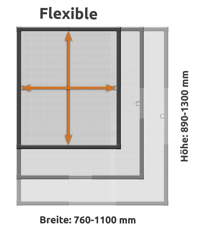 Protecci/ón contra insectos telesc/ópico/ /Marco de ventana 110/x 130/cm Antracita