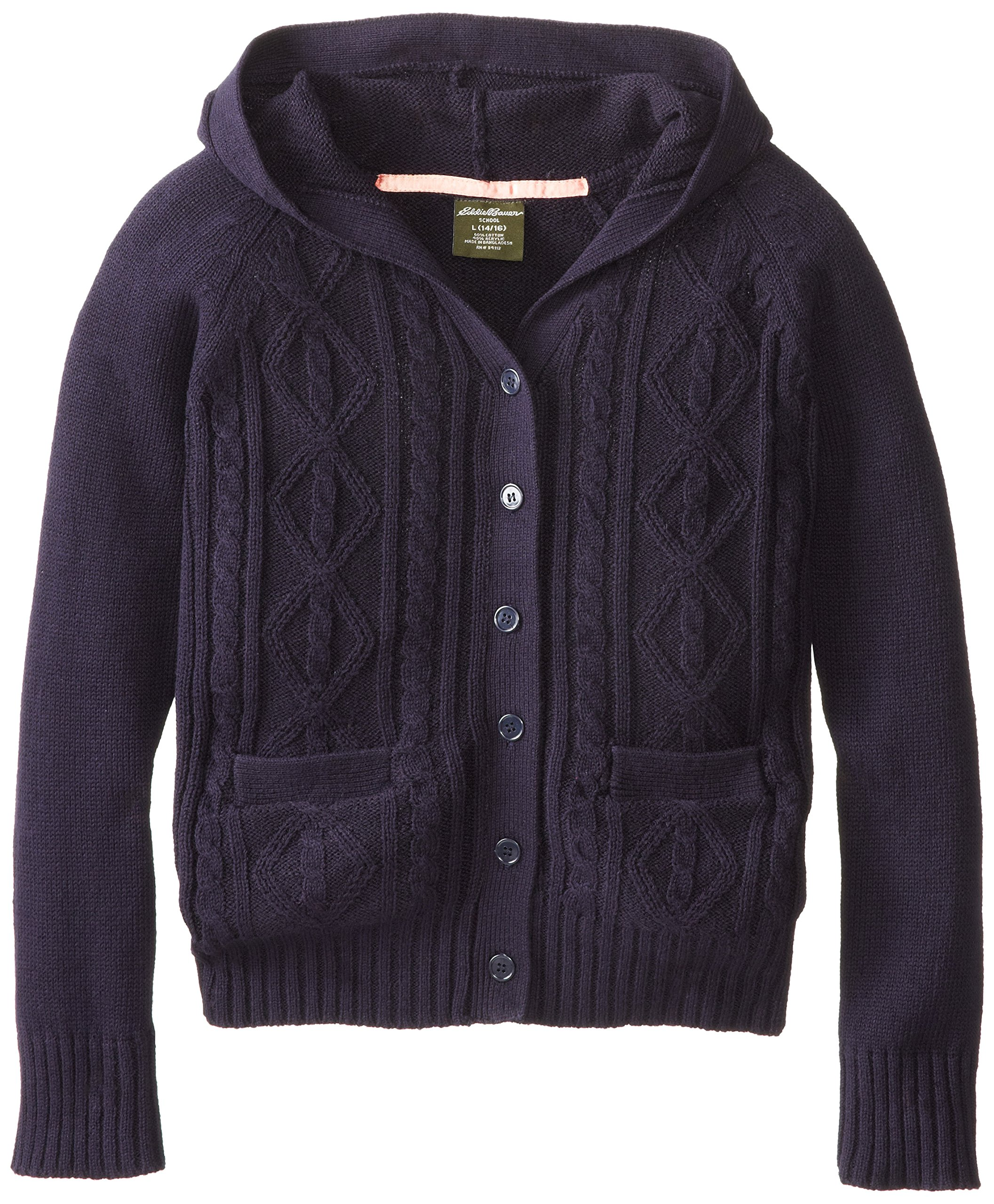 Eddie Bauer Big Girls' Sweater (More Styles Available), Navy-PIJFE, 14/16
