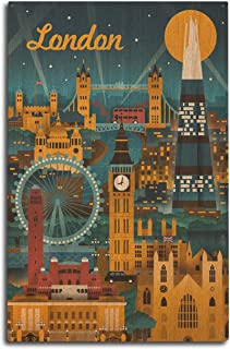 product image for Lantern Press London, England - Retro Skyline (10x15 Wood Wall Sign, Wall Decor Ready to Hang)
