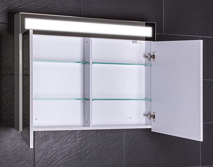Galdem® Armario con Espejo, Madera, Weiß, 90x65x15 cm: Amazon.es ...