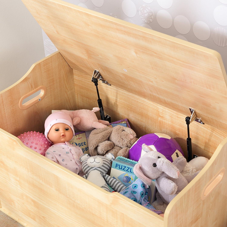KidKraft 14951 Scatola con coperchio Austin per giocattoli in legno, mobili per camera da letto e sala giochi per bambini - Bianco Naturale