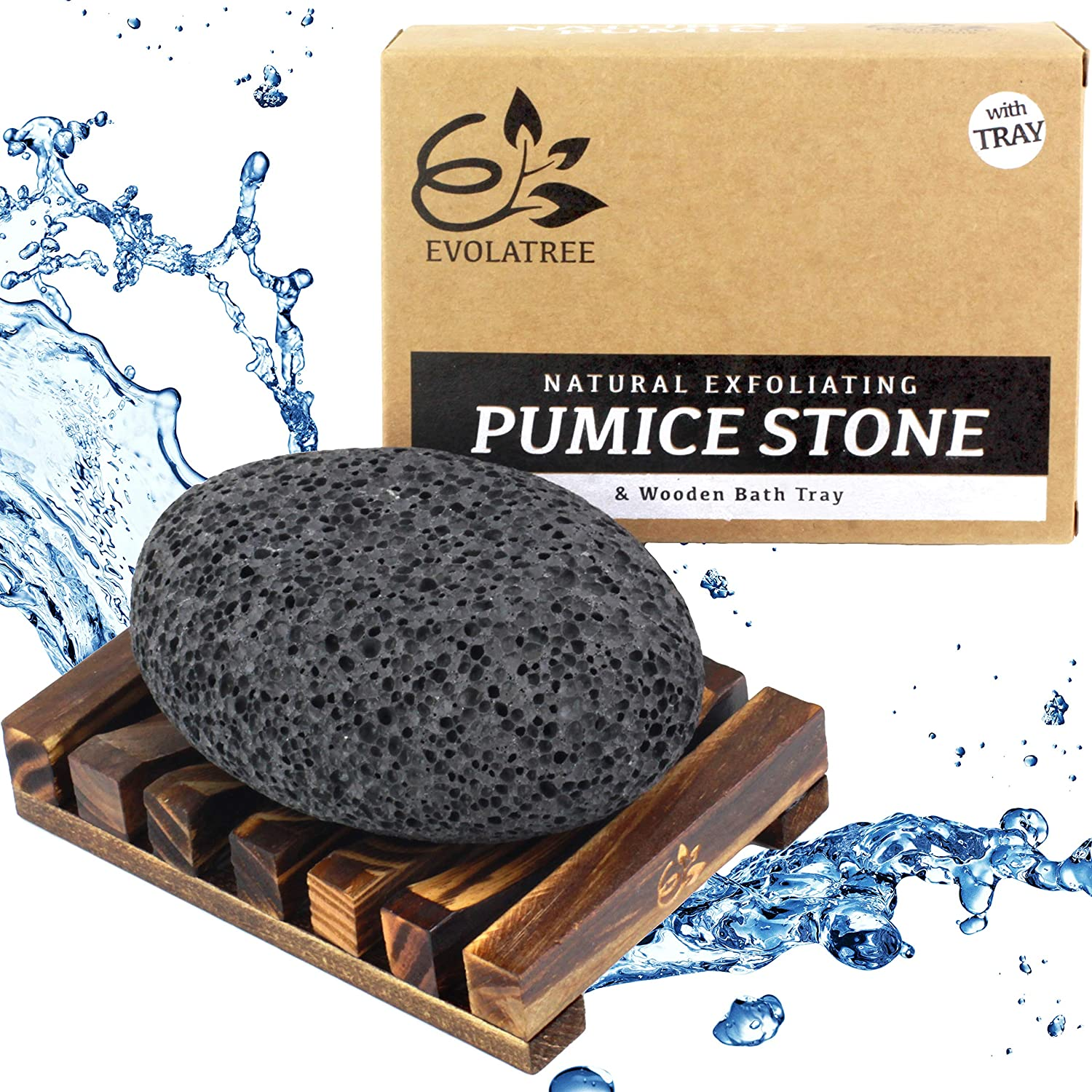 Evolatree Pumice Stone for Feet - Foot Scrubber for Exfoliating Dry Dead Skin - Natural Foot Stone Removes Callus on Hands, Heels, and Body - Pedicure Foot Care Gift Set w/Reusable Wooden Bath Tray