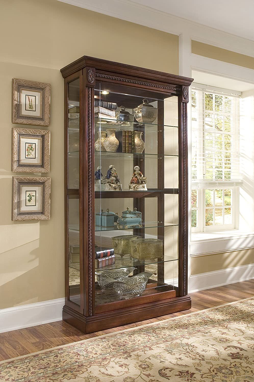 Amazon.com Pulaski Two Way Sliding Door Curio 43 by 17 by 80-Inch Medallion Cherry Finish Brown Kitchen u0026 Dining & Amazon.com: Pulaski Two Way Sliding Door Curio 43 by 17 by 80 ... pezcame.com