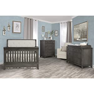 Evolur Signature Amsterdam 5-in-1 Convertible Crib in Smokey Brushed Grey
