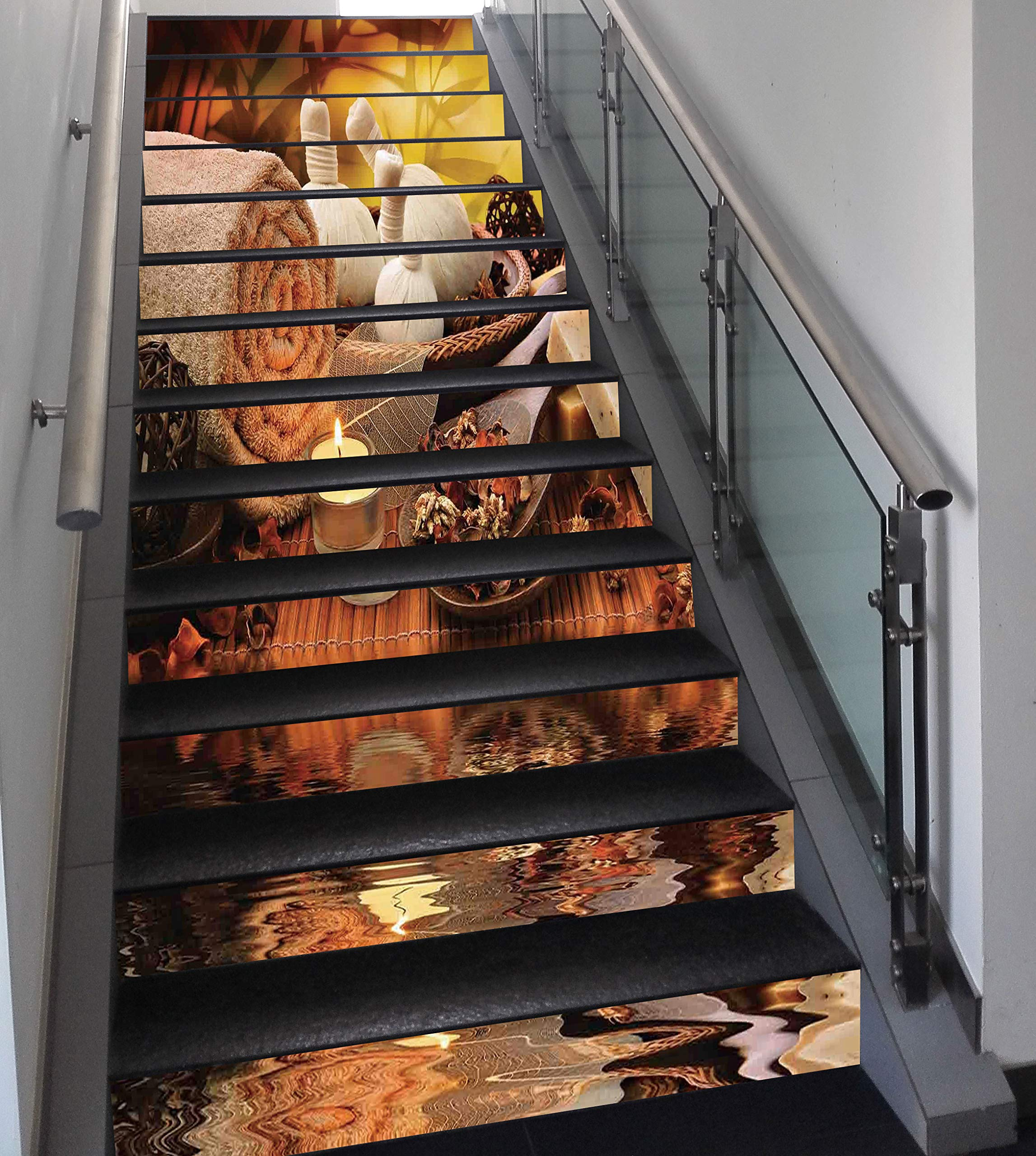 Stair Stickers Wall Stickers,13 PCS Self-Adhesive,Spa Decor,Outdoor Spa Massage Setting at Sunset with Candlelight Reflections Culture,Stair Riser Decal for Living Room, Hall, Kids Room Decor