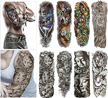 Tatuajes temporales de moda - 8 hojas de tatuajes grandes para el ...