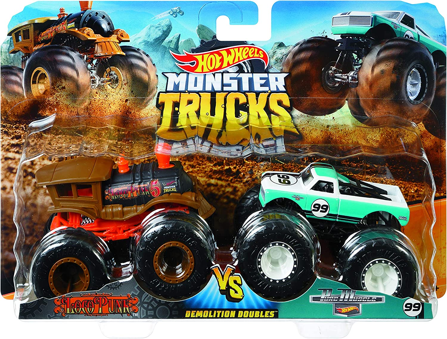Amazon Com Hot Wheels Monster Demo Doubles Trucks 2 Pack Styles May Vary Toys Games