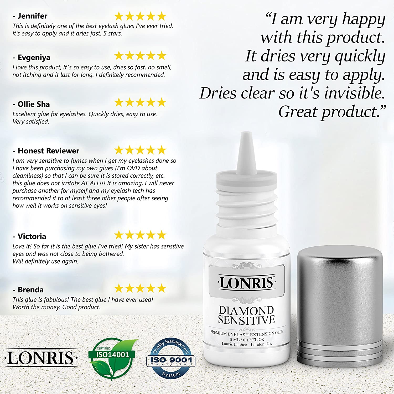 e68ff561cc3 Amazon.com : MAXIMUM SENSITIVE Eyelash Extension Lonris Glue | No Fume No  Irritation | Lash Adhesive For Professionals & Beginners | Semi-Permanent  ...