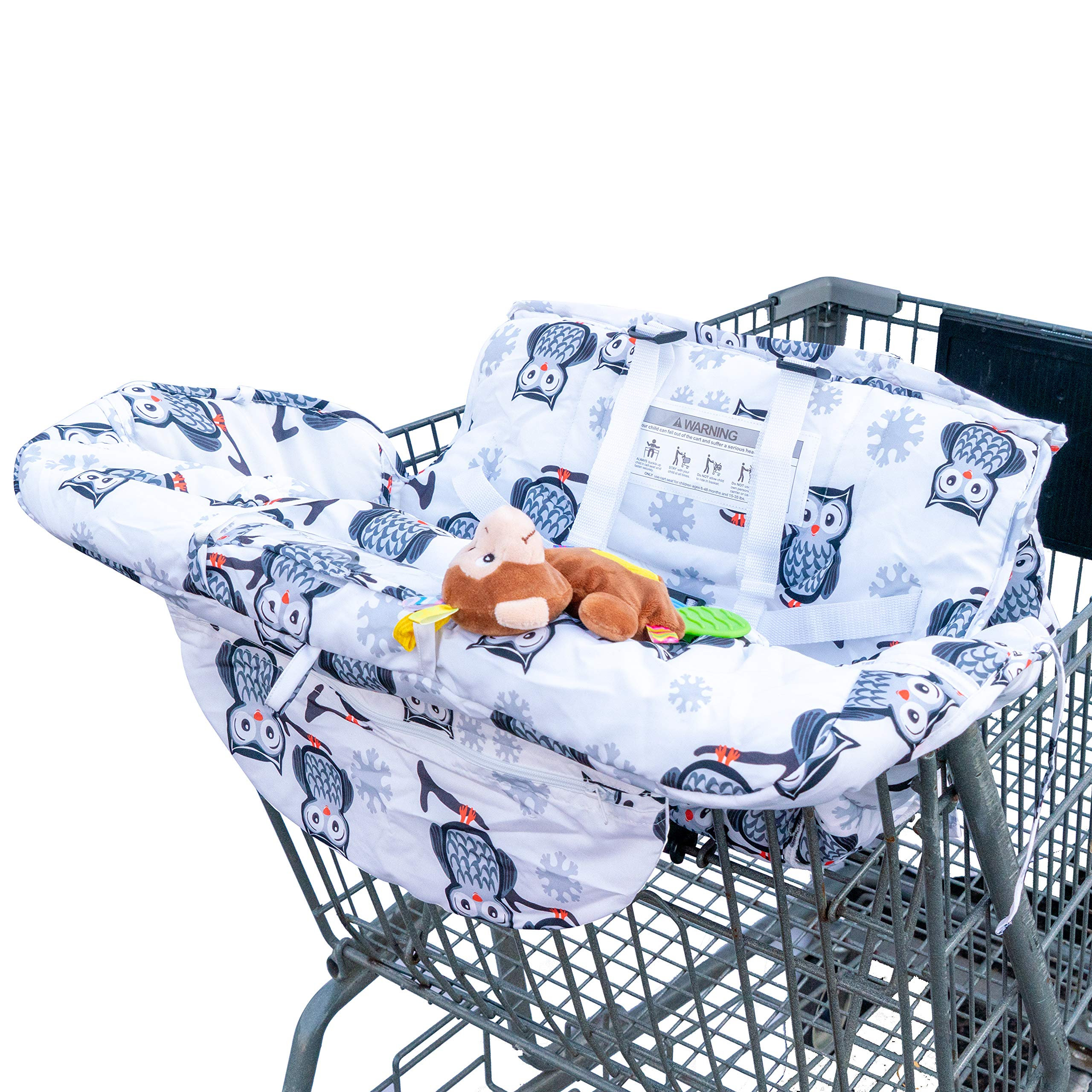 Shopping Cart Cover by Yasmin Box – 2-in-1 Baby Grocery Trolley Seat and Highchair Covers - For Boy or Girl - Cushy with Extra Padded Cushion - Infant Teether - Portable and Foldable - Kids Protection