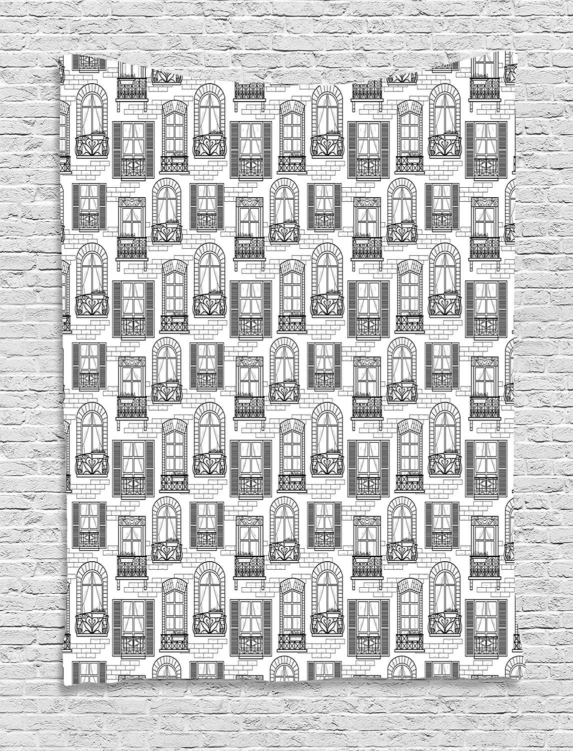 THndjsh Geometric Tapestry, Apartment Building Urban Architecture European Windows City Town Illustration, Wall Hanging for Bedroom Living Room Dorm, 60 W X 80 L Inches, Grey White