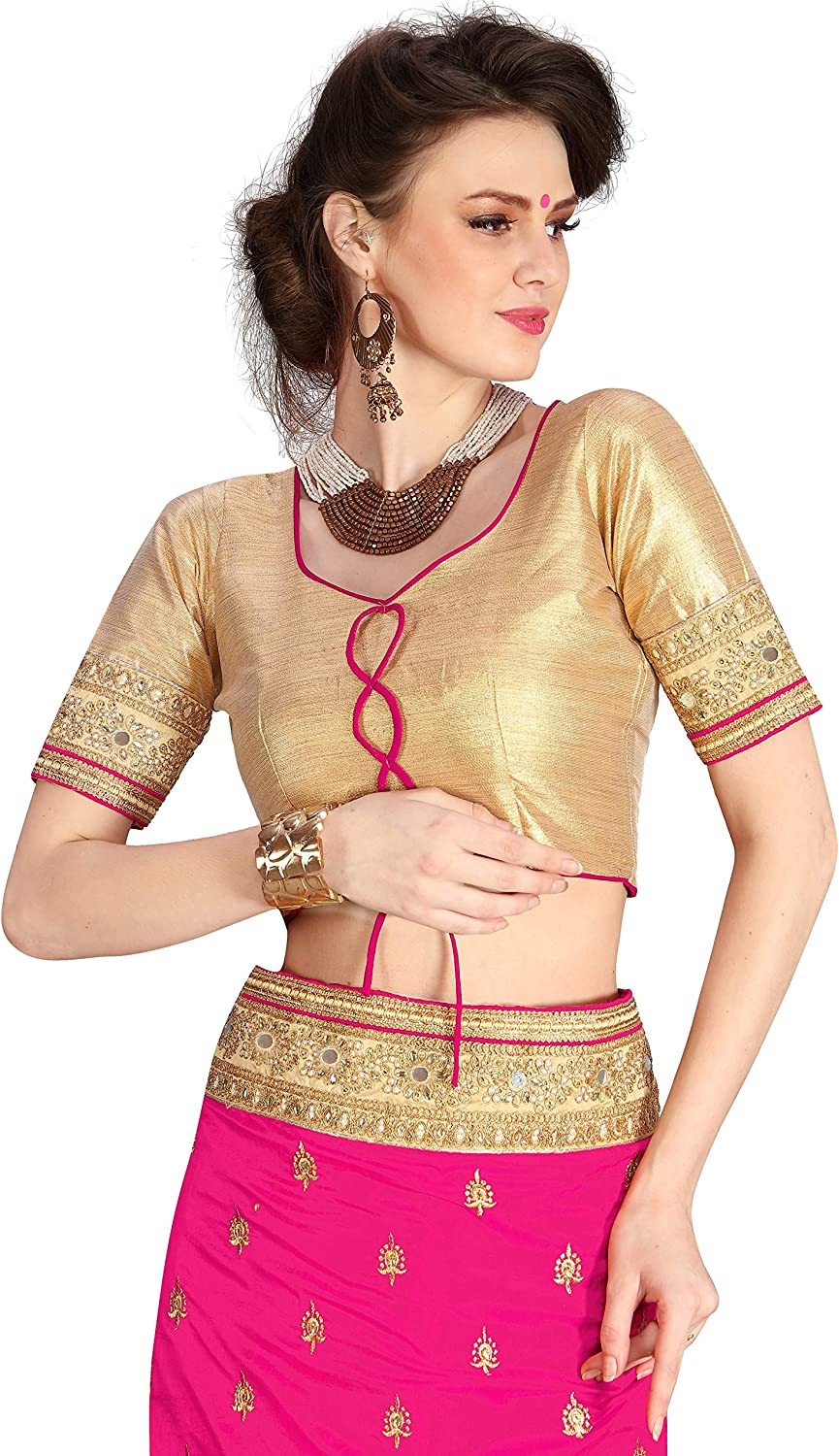 K579 Nivah Fashion Womens Dupion Silk /& Net Embroidery Saree with Blouse Piece