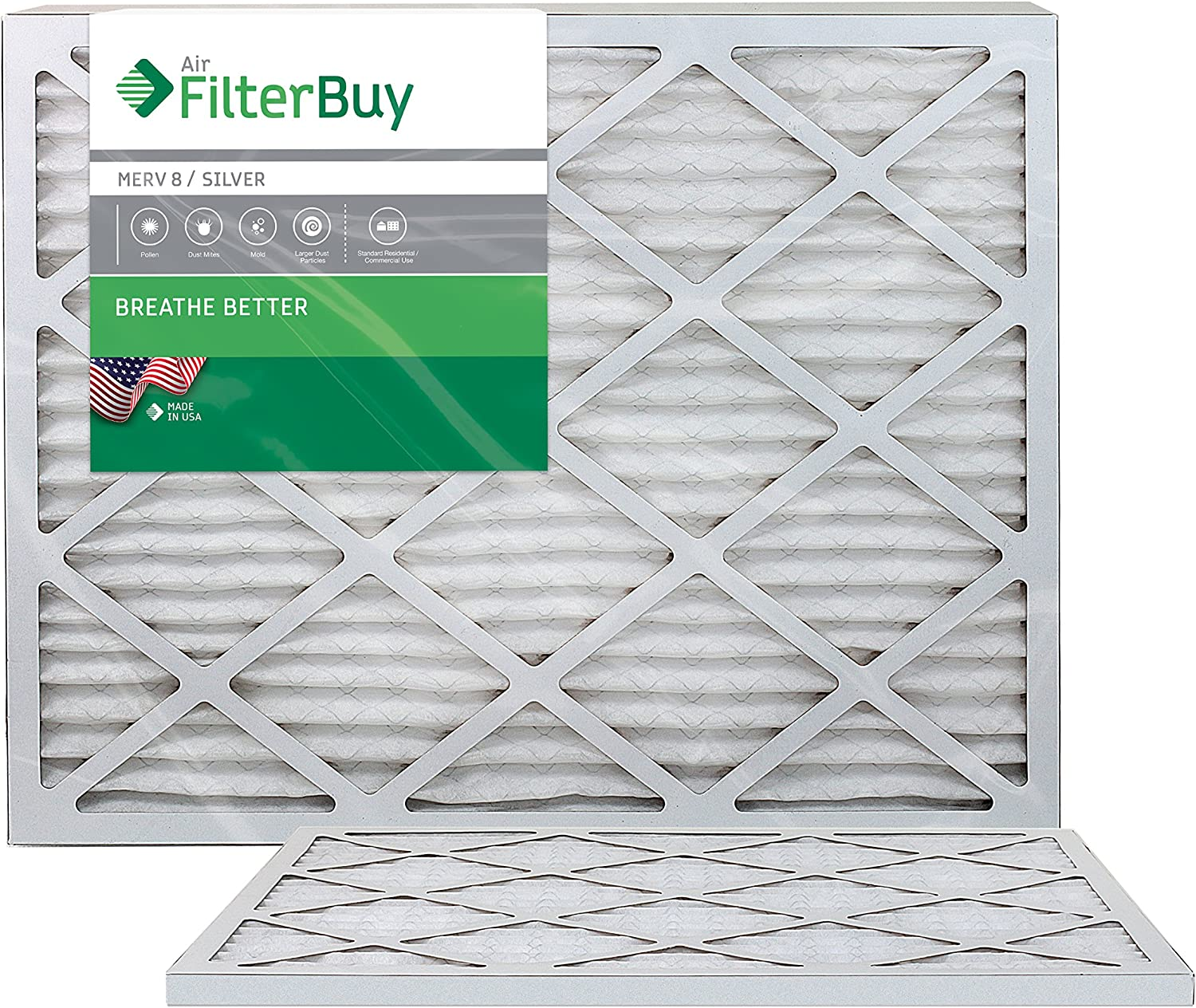 FilterBuy 24x36x1 MERV 8 Pleated AC Furnace Air Filter, (Pack of 2 Filters), 24x36x1 – Silver