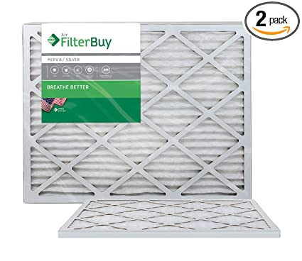 filterbuy 24x24x1 merv 8 pleated ac furnace air filter, (pack of 2 ...