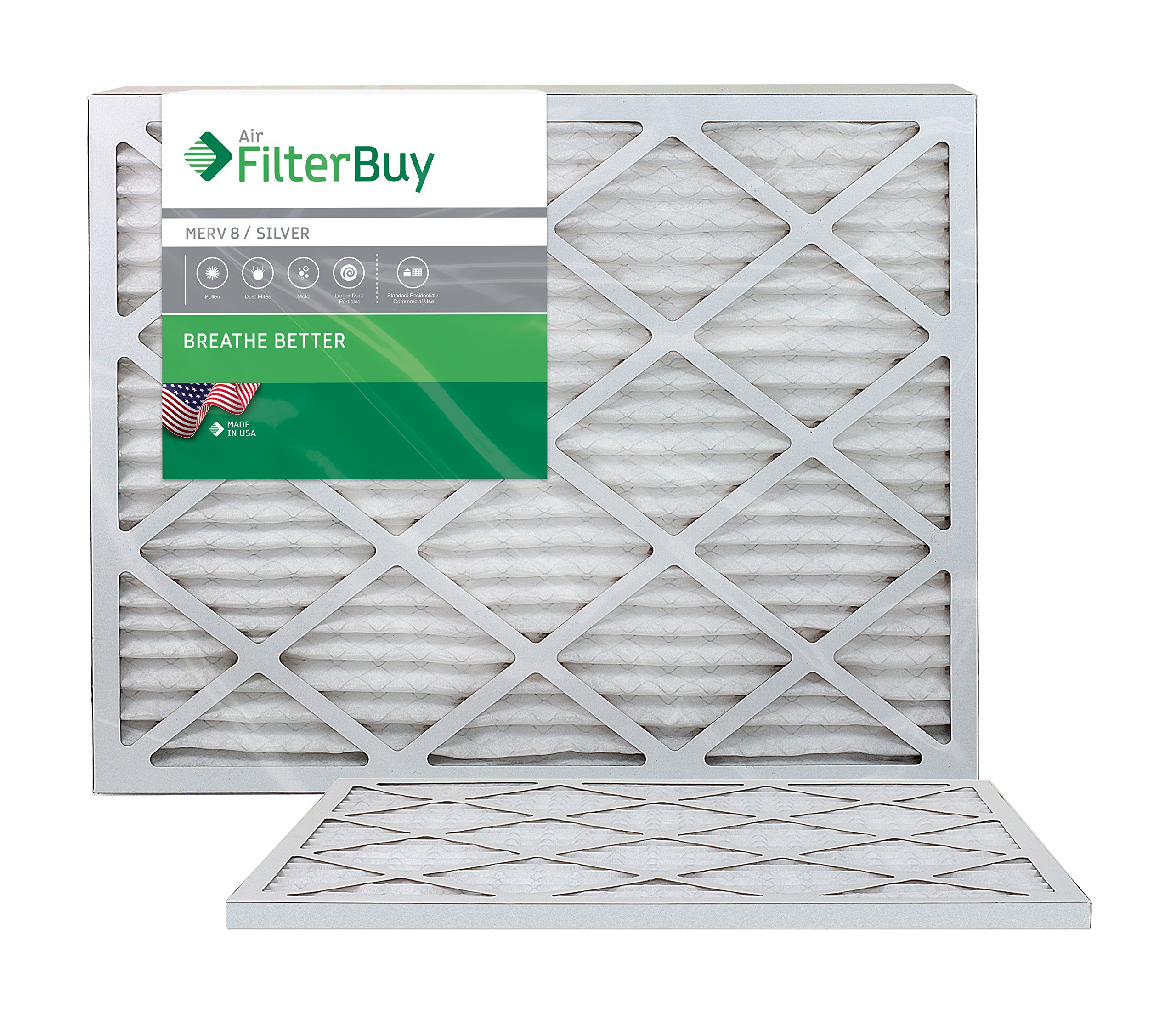 FilterBuy 24x24x1 MERV 8 Pleated AC Furnace Air Filter, (Pack of 2 Filters), 24x24x1 – Silver
