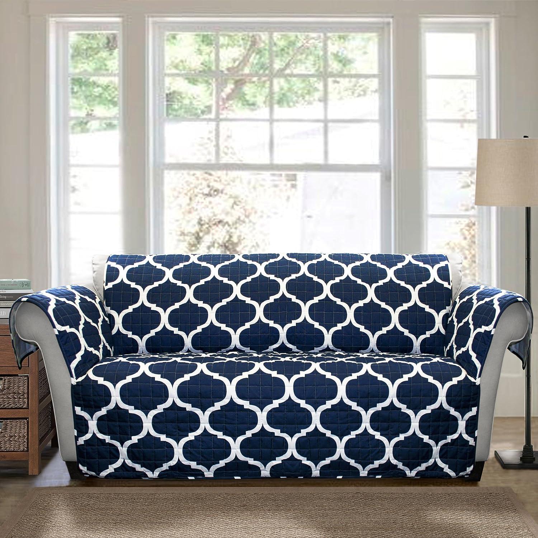 Amazon Lush Decor Geo Furniture Protector Sofa Navy Home