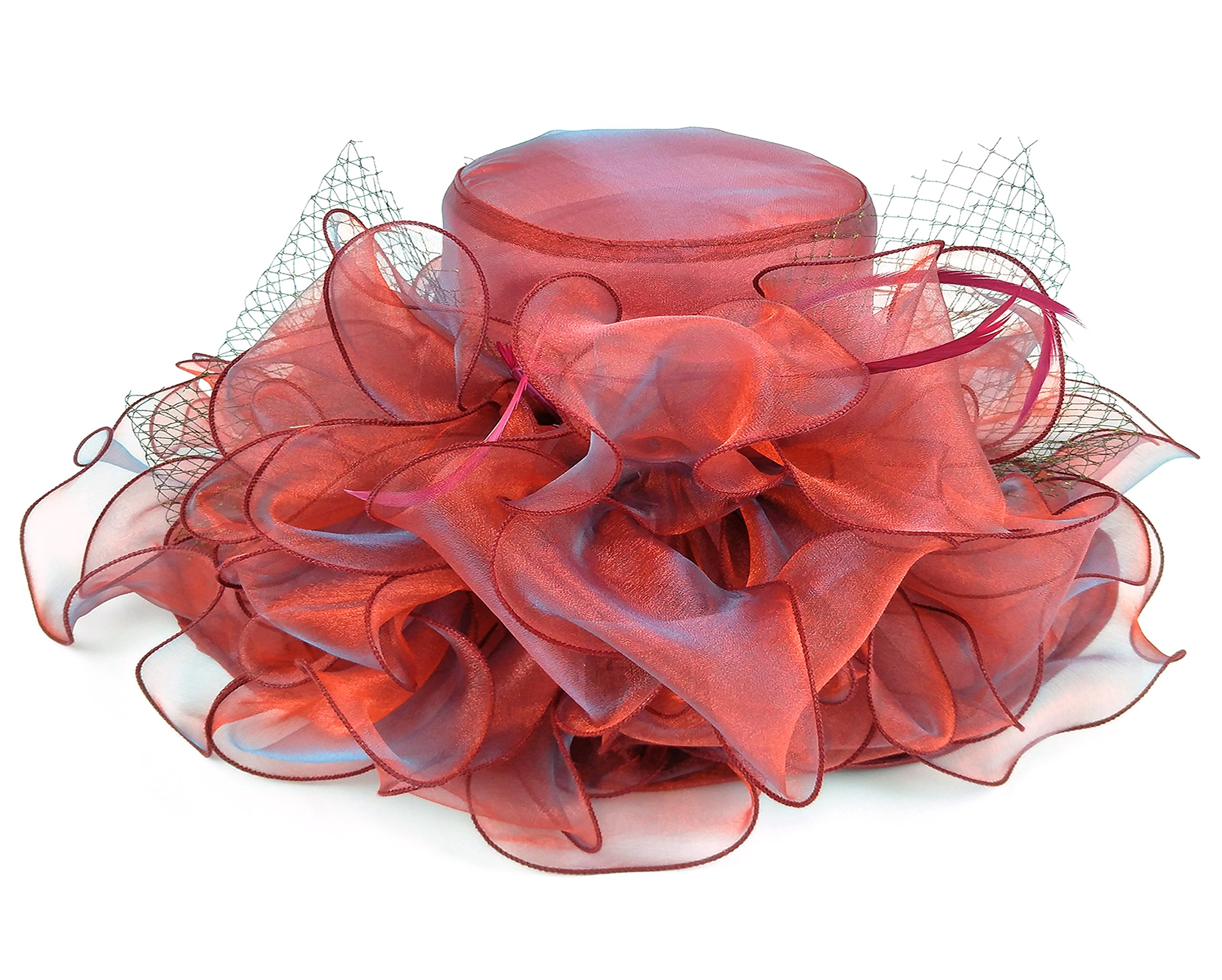 Seven Flowers Kentucky Derby Hats for Women Church Ladies Wedding British Tea Party Hat (12-red) by Seven Flowers (Image #3)