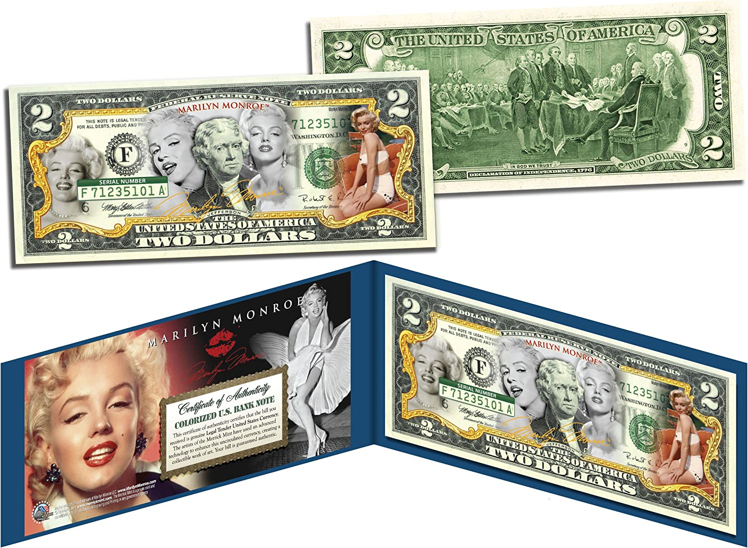 MARILYN MONROE Legal Tender USA $2 Dollar Bill *OFFICIALLY LICENSED