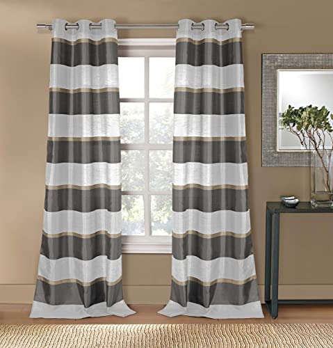 Faux Silk Striped Grommet Top Window Curtain Pair Panel Insulated Drapes For Bedroom, Livingroom, Kid, Children, Nursery – Assorted Color – 38 by 84 Inch, Set of 2 Panels – Grey Taupe