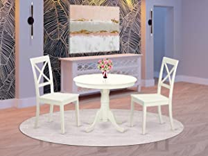 East West Furniture 3 PC Set with One Round Table & Two Solid Wood Kitchen Chairs Having A Rich Linen White Finish