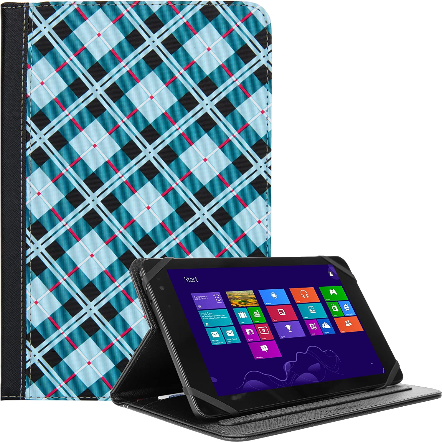eBigValue Universal Portfolio Blue Checkers Fits for BLU TouchBook, Life 8, Chuwi V Series, Coby Kyros 7, Datawind UbiSlate 7, Dell Venue 8in Tablet