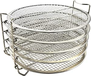 Dehydrator Rack for Ninja Foodi 6.5, & 8 qt & Instant Pot Duo Crisp 8 qt - 5 Stainless Steel Stackable Dehydrator Grill Stand Racks Accessories for Pressure Cooker & Air Fryer - Easy Setup