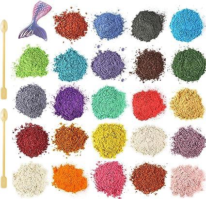 Funxim Pigmentos en Polvo 24pcs × 10g con cuchara, Pigmentos ...