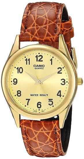 CASIO 19313 MTP-1093Q-9B - Reloj Caballero cuarzo correa de piel marrón dial dorado: Casio: Amazon.es: Relojes
