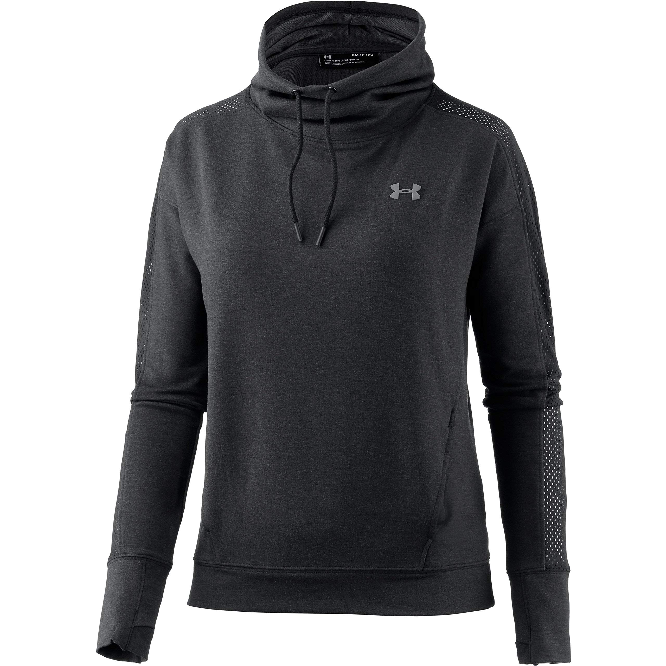 Under Armour Women's Featherweight Fleece Funnel Neck, Black (001)/Graphite, X-Small