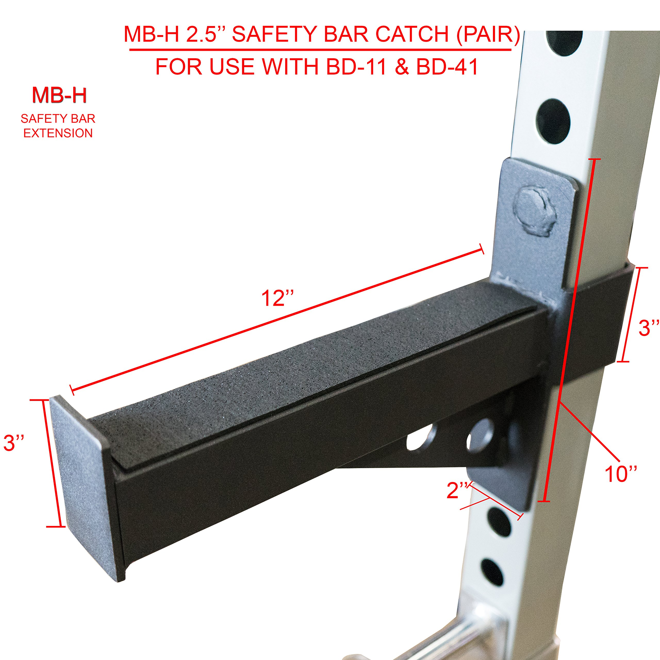 Valor Fitness MB-H Safety Bar Extension Accessory Set for BD-11, BD-20 and BD-41 (fits 2.5'' tubing)