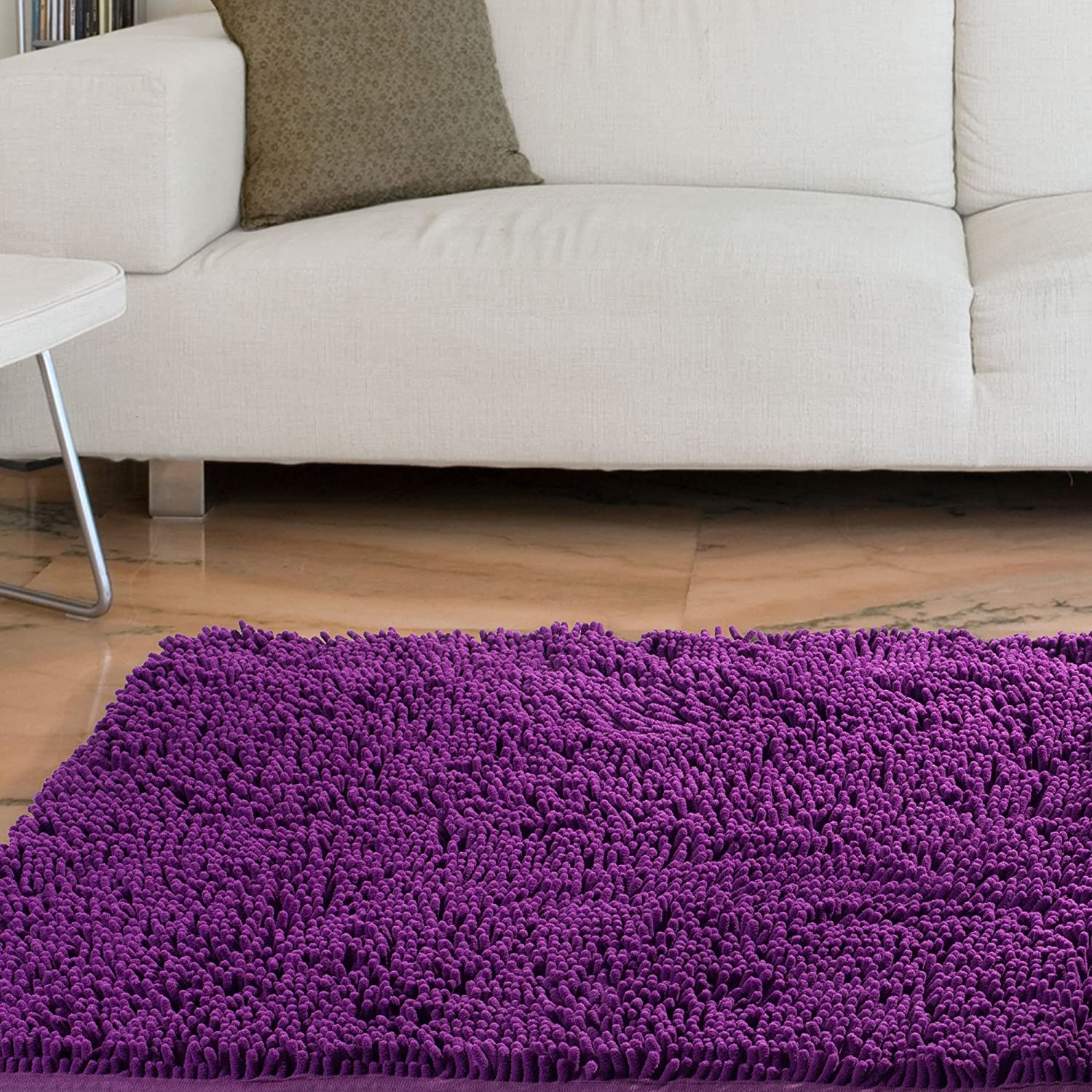 Amazon Lavish Home High Pile Carpet Shag Rug 21 By 36 Inch Purple Kitchen Dining