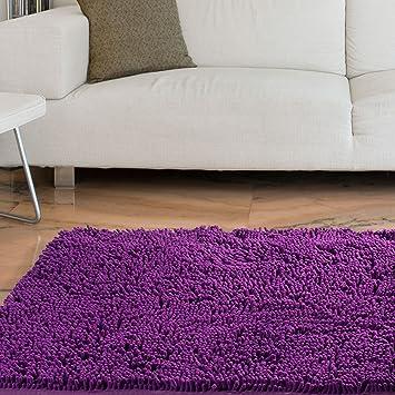 Lavish Home High Pile Carpet Shag Rug, 21 By 36 Inch, Purple
