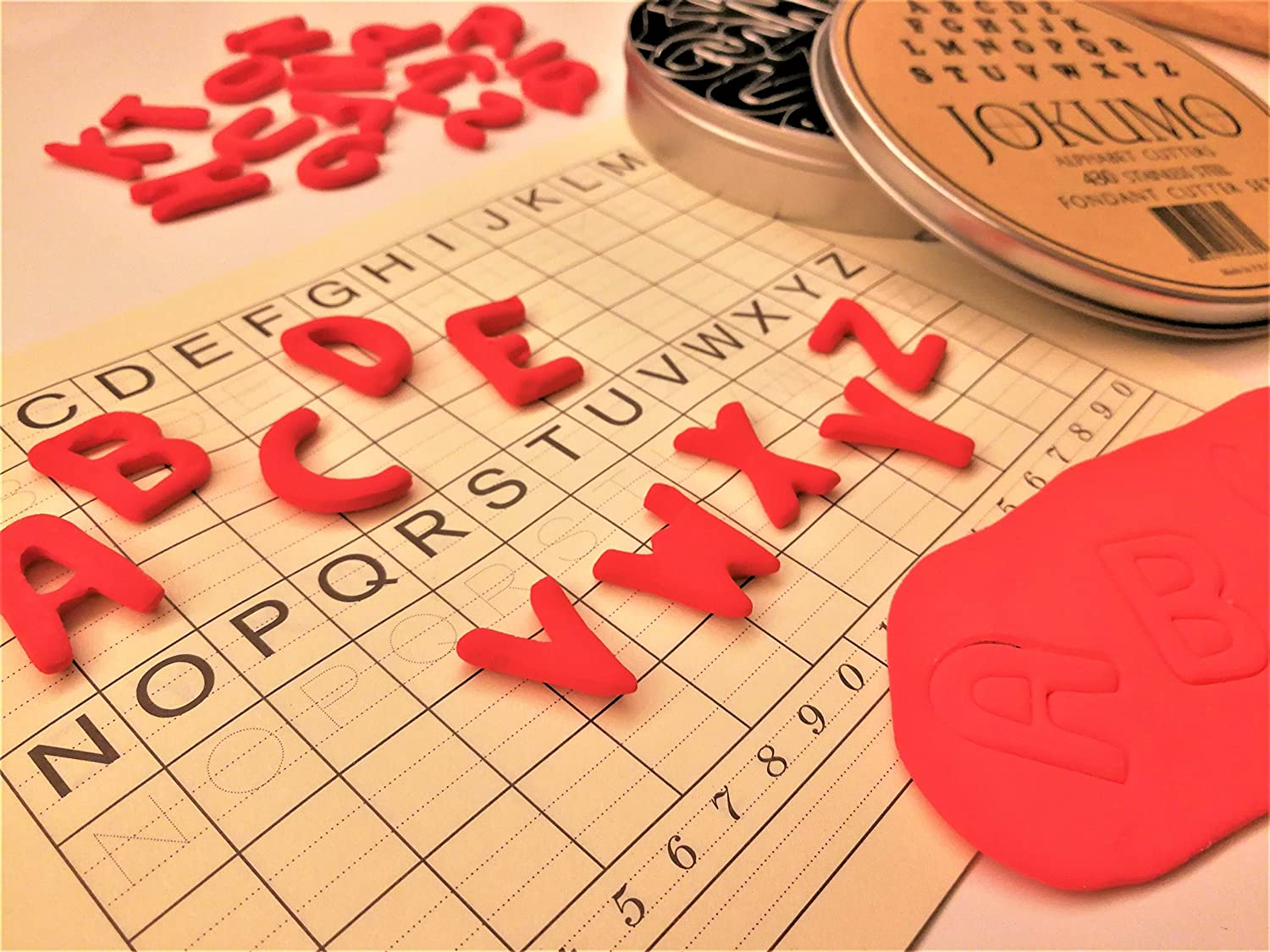 JOKUMO Mini Alphabet Letters A-Z Fondant Cutters 26 Pieces high Grade 430 Stainless Steel with Storage tin and Shape Identify Template Paper Fondant Vegetable and Fruit. Perfect/ for Cookie