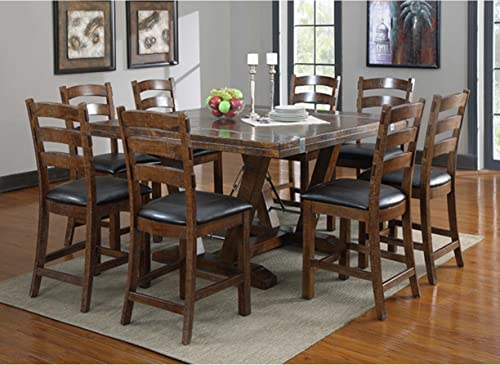 Emerald Home Castlegate Pine Brown Gathering Height Dining Table with Self Storing Extension Leaves, Plank Style Top, And Turnbuckle Bracing