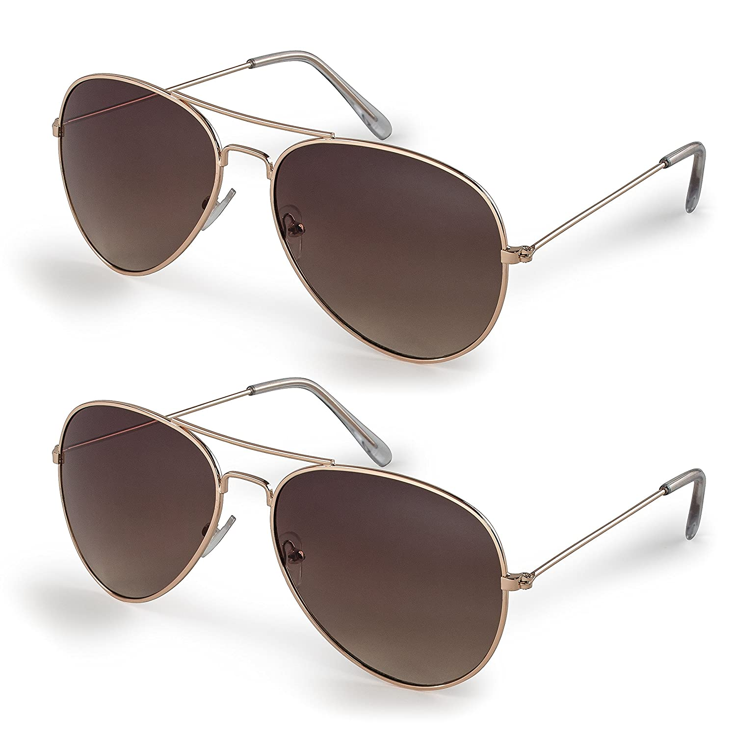 Stylle Classic Aviator Sunglasses with Protective Bag, 100% UV Protection ST6002_Gold_C4_C2