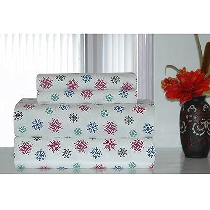 4 pieza Color Blanco Multi Copos de nieve Hoja Queen Set, hermoso ...