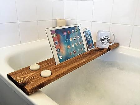 Dark Oak Reclaimed Solid Wood Bath Tray Bath Caddy Shelf Wine Tablet ...